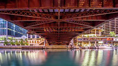 Water St Chicago Photograph - Dearborn St. Bridge, Chicago by Lindley Johnson