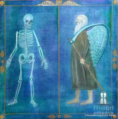 Painting - Death And Father Time by Anna Folkartanna Maciejewska-Dyba