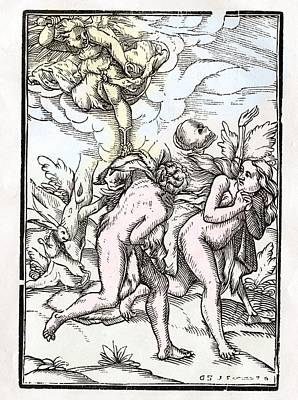 Bible Drawing - Death Comes For Adam And Eve In The by Vintage Design Pics