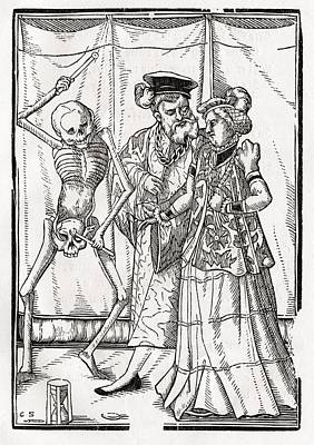 Duchess Drawing - Death Comes To The Duchess Woodcut By by Vintage Design Pics