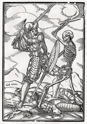 Destiny Drawing - Death Comes To The Soldier Woodcut By by Vintage Design Pics