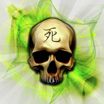 Digital Art - Death Kanji Skull by Vic Weiford