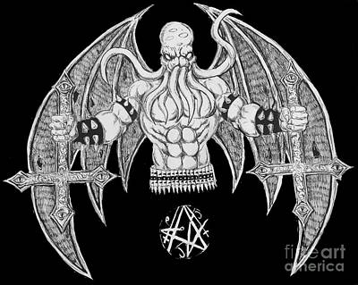Death Metal Cthulhu Raw Version Art Print