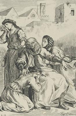 Relief - Death Of Goetz Von Berlichingen by Eugene Delacroix