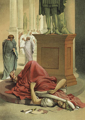 Roman Ancient Painting - Death Of Julius Caesar, Rome, 44 Bc  by Spanish School