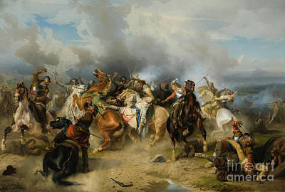 Adolf Painting - Death Of King Gustav II Adolf Of Sweden At The Battle Of Lutzen by Carl Wahlbom