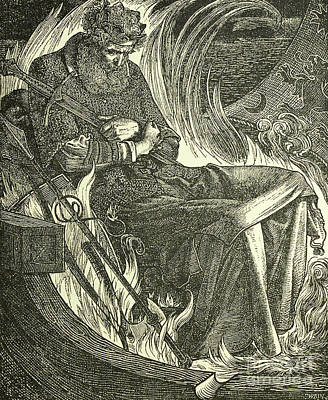 Suicide Wall Art - Drawing - Death Of King Warwulf by Anthony Frederick Augustus Sandys