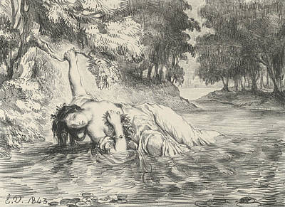 Relief - Death Of Ophelia by Eugene Delacroix