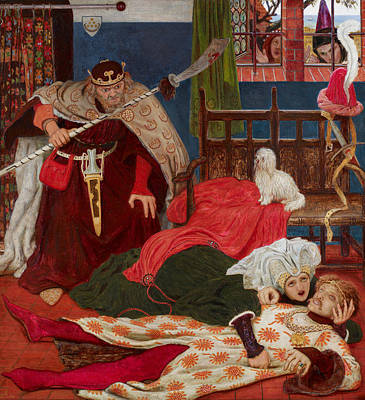 Death Of Sir Tristram Art Print by Ford Madox Brown