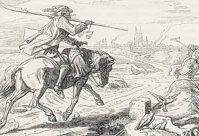 Destiny Drawing - Death On Horseback From Alfred Rethel S by Vintage Design Pics