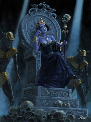 Digital Art - Death Queen On Throne With Skulls by Martin Davey