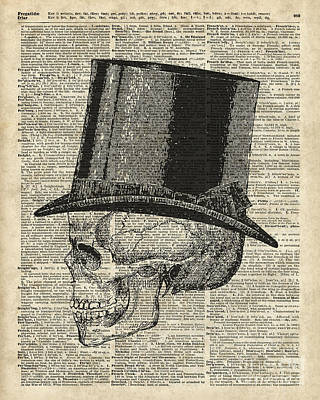 Mementos Mixed Media - Death Skull With Victorian Hat by Jacob Kuch