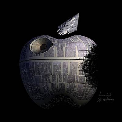 Pacman Wall Art - Digital Art - Death Star Apple by Andrea Gatti
