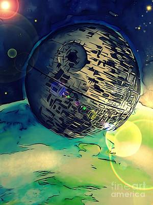 Justin Moore Drawing - Death Star Illustration  by Justin Moore