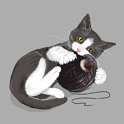 Ball Digital Art - Death Star Kitty by Olga Shvartsur
