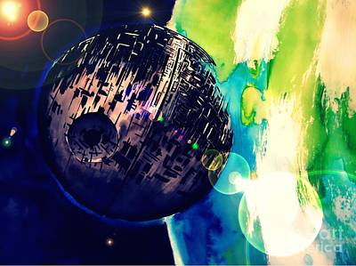 Handcrafted Drawing - Death Star Two by Justin Moore