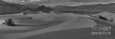 Great White Death Photograph - Death Valley Dunes Black And White Panorama by Adam Jewell