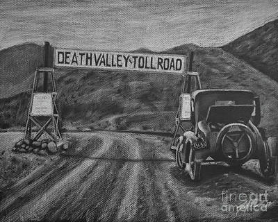 Death Valley Drawing - Death Valley Toll Road by Jennifer Gerke