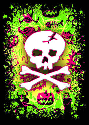 Deathrock Skull And Bones Art Print