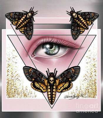 Digital Art - Death's Head Moths by Curiobella- Sweet Jenny Lee