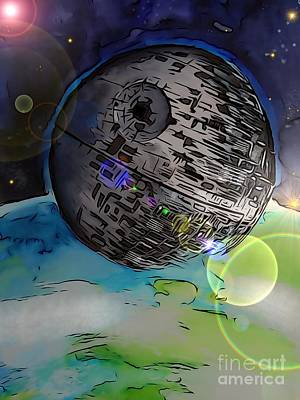 Science Fiction Drawings - Deathstar Illustration by Justin Moore