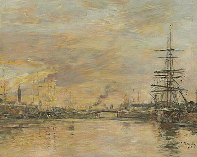 Basin Painting - Deauville, The Basin by Eugene Boudin