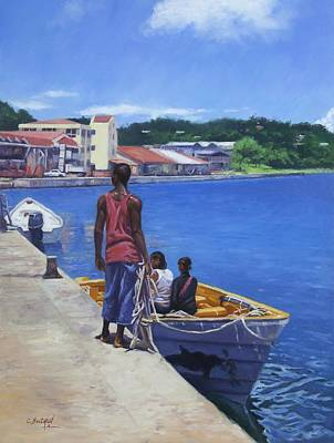 Fishing Village Painting - Debarkation by Colin Bootman