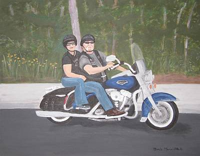 Motorcyle Painting - Debbie And Bob On Their Harley Davidson Road King by Brenda Marie Black