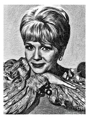 Musicians Drawings - Debbie Reynolds, Vintage Actress by JS by Esoterica Art Agency