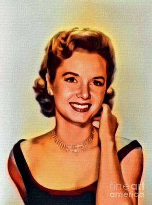 Debbie Reynolds, Vintage Actress. Digital Art By Mb Art Print by Mary Bassett