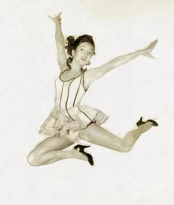 Musicians Drawings - Debbie Reynolds, Vintage Hollywood Actress by John Springfield