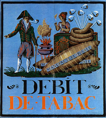 Royalty-Free and Rights-Managed Images - Debit De Tabac - Smoking Advertisnment - Vintage Advertising Poster by Studio Grafiikka