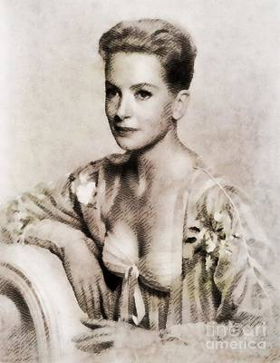 Deborah Kerr, Vintage Actress. Digital Art By John Springfield Art Print by John Springfield