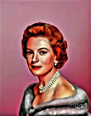 Deborah Kerr, Vintage Actress. Digital Art By Mary Bassett Art Print by Mary Bassett