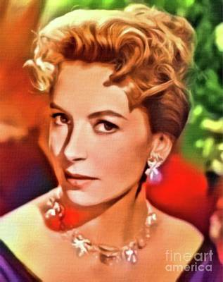 Deborah Kerr, Vintage Actress. Digital Art By Mb Art Print