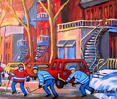 Kids Playing Hockey Painting - Debullion Street Hockey Stars by Carole Spandau