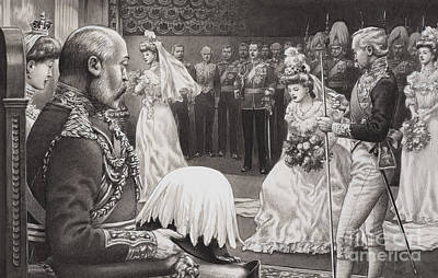 Debutantes Being Presented To Edward Vii And Queen Alexandra Art Print