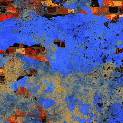 Mixed Media - Decadent Urban Blue Brick Wall Grunge Abstract by Georgiana Romanovna