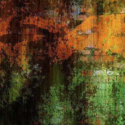 Mixed Media - Decadent Urban Brick Green Orange Grunge Abstract by Georgiana Romanovna