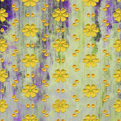 Beige Abstract Art Mixed Media - Decadent Urban Bright Yellow Patterned Purple Abstract Design by Georgiana Romanovna