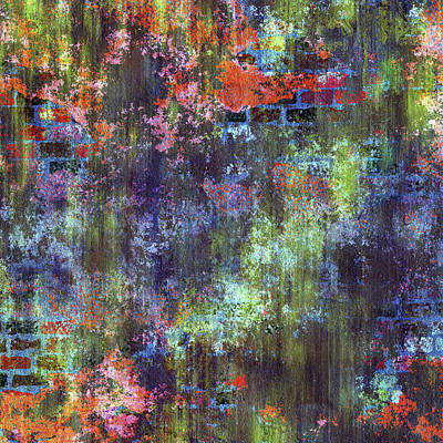 Mixed Media - Decadent Urban Moss Colorful Wall Grunge Abstract by Georgiana Romanovna