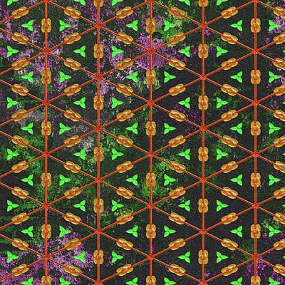 Mixed Media - Decadent Urban Orange Green Patterned Abstract Design by Georgiana Romanovna