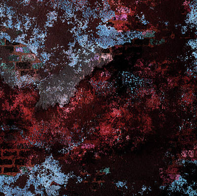 Mixed Media - Decadent Urban Red Blue Brick Wall Grunge Abstract by Georgiana Romanovna