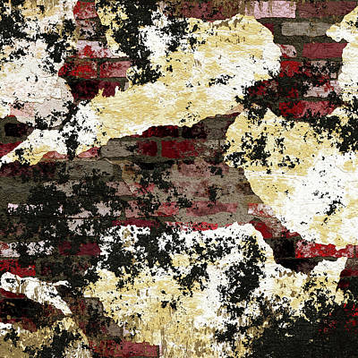Mixed Media - Decadent Urban Red Bricks Painted Grunge Abstract by Georgiana Romanovna