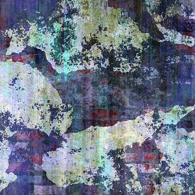 Mixed Media - Decadent Urban White Splashed Bricks Grunge Abstract by Georgiana Romanovna