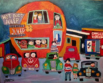 Decarie Strip Painting - Decades At The Orange Julep Decarie by Michael Litvack