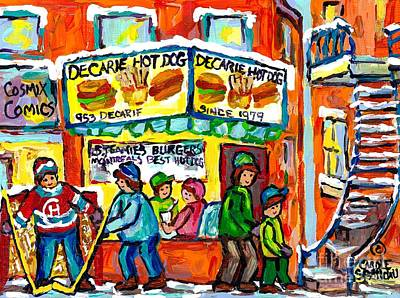 Decarie Hot Dogs Painting - Decarie Hotdog Restaurant Montreal Winter Scene Hockey Game Canadian Art For Sale Carole Spandau by Carole Spandau