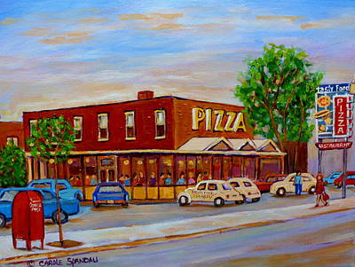 Decarie Painting - Decarie  Tasty  Food  Pizza by Carole Spandau