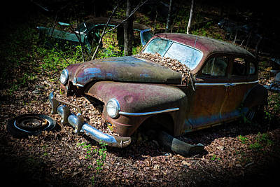 Photograph - Decaying Antique Car In The Woods by Douglas Barnett