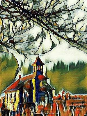 Painting - December Country Church by PainterArtist FIN